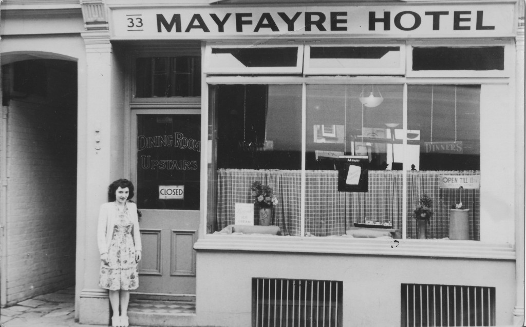 Where it all began Gloria Minghella outside the Mayfayre late 1940s Ryde, Isle of WIght